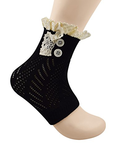 Black Distressed Net Fingerless Gloves (Spring fever Short Leg Warmers for Women Crochet Knitted Boot Socks Black)