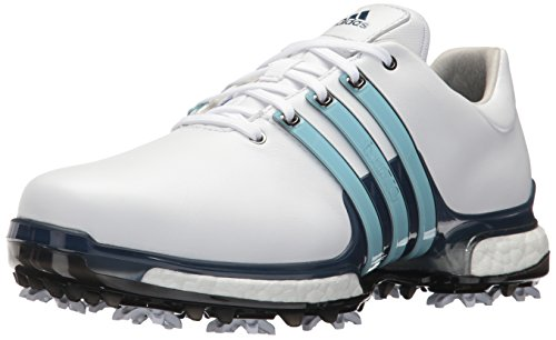 adidas Men's TOUR 360 2.0 Golf Shoe, White/Ice Blue/Mystery Ink, 10.5 M US