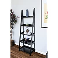 Innovex AS701W29 Geneva Accent Ladder Bookshelf, 5-tier 70 Display Storage Shelf, Black
