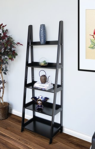 - Innovex Geneva 5 tier ladder leaning bookcase, multifunctional wood storage display wall shelve, black