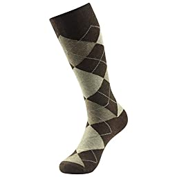 SUTTOS Elite Men\'s Women\'s Adult Crazy Wonder Fun Brown Blue Diamond Sharp Plaid Dobby Argyle Nordic Patterned Charged Cotton Long Tube Crew Dress Socks,4 Pairs with Happy Gift Box