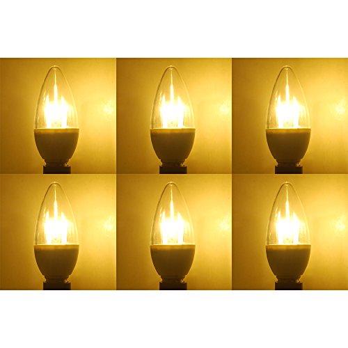 π LED E12 Candelabra Base Bulb, 5 watt Candle Bulbs, 280lm, Warm White 2700K, 180176; Beam Spread, Torpedo Shape, Non Dimmable - Pack of 6 Units