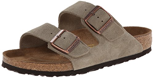 Arizona Sandals Birkenstock Leather (Birkenstock Unisex Arizona Taupe Suede Sandal 39 R (US Men's 6-6.5 / US Women's 8-8.5))