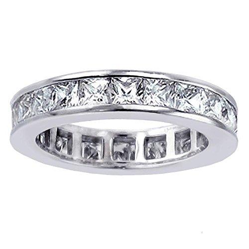 2.75 CT TW Princess Cut Diamond Eternity Anniversary Wedding Band in 14k White Gold - Size 5.5