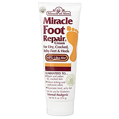 Miracle Foot Repair Cream 8 oz with 60% Pure Organic Aloe Vera Softens Dry Cracked Feet.