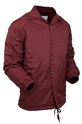 HB Casual Coaches Jacket Lightweight Active Windbreaker Waterproof (Small, Burgundy) (Snap Jacket Nylon Front)