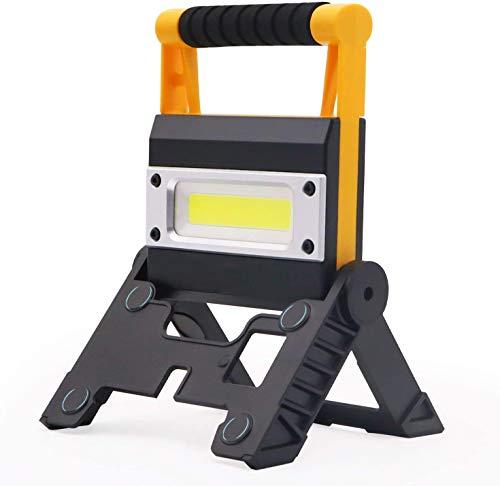 Akku Strahler, MOZC Campinglampe Baustrahler 12W 1000 Lumen LED Tragbar, Mit Batterieanzeige Faltbares LED…