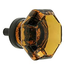 Amber Crystal Octagon Glass Cabinet Knobs (2) Drawer Pulls & Handles ~ T28 Classic Flame Polished Glass Knobs with Oil Rubbed Bronze Base for Kitchen Cabinet, Cupboard, Dresser or Vanity