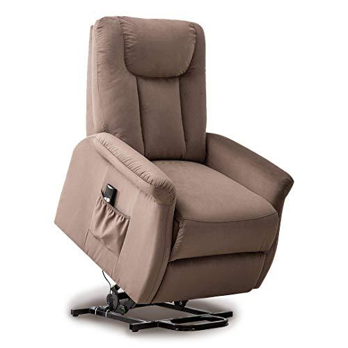 Pressed Chair Back (BONZY Lift Recliner Chair Power Lift Chair with Gentle Motor Velvet Micro Fiber Cover- Velvet Chocolate)