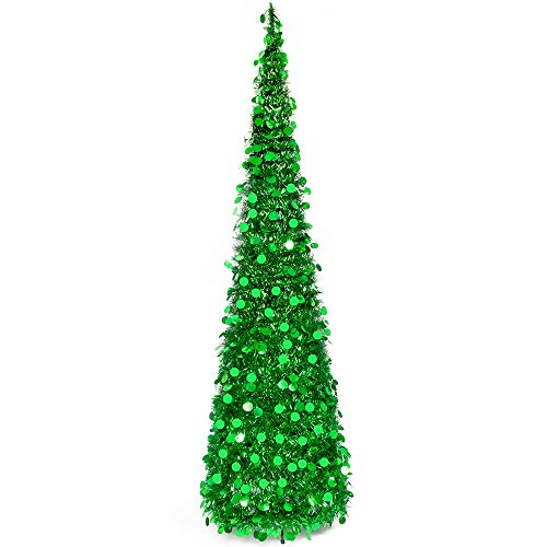 MACTING 6ft Pop up Christmas Tinsel Tree with Stand Easy-Assembly Tinsel Coastal Glittery Christmas Tree for Holiday Xmas Decorations(6FT Green) (Pop Best Up Christmas Trees)