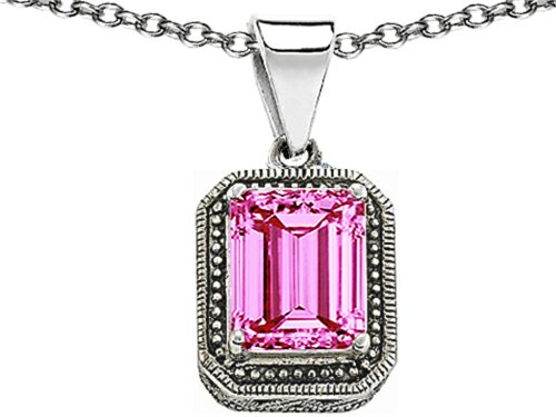 erald Cut 10x8mm Created Pink Sapphire Pendant Necklace Sterling Silver (Bali Style Star)