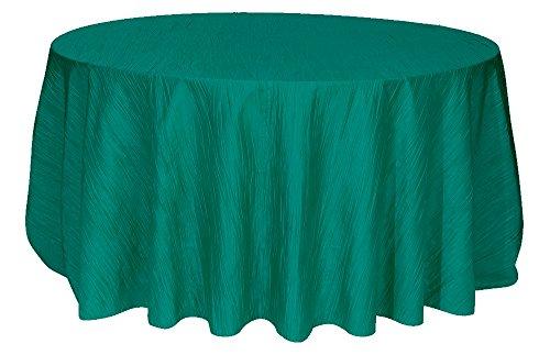 132 Inch Round Crinkle Taffeta Tablecloths (Teal Taffeta)