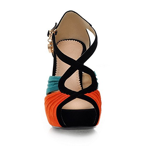 Sandals Suede AgooLar Toe Stilettos Color Imitated Peep Orange Buckle Women's Spikes Assorted wwxaFvRqf