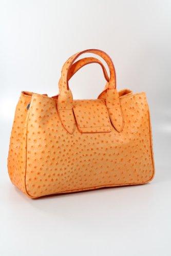 Borsa Tote In Vera Pelle Arancione Goffratura Di Struzzo Arancione - 36x25x18 Cm (lxhxp)