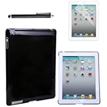 HDE Clear Color iPad Hard Case Plastic Back Cover + Screen Protector + Stylus Pen for iPad 2 iPad 3 iPad 4 (iPad 2/3/4, Black)