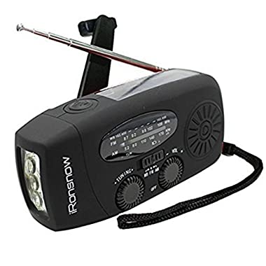 iRonsnow IS-088 Dynamo Emergency Solar Hand Crank Self Powered AM/FM/NOAA Weather Radio, LED Flashlight, Smart Phone Charger Power Bank with Cables(Black)