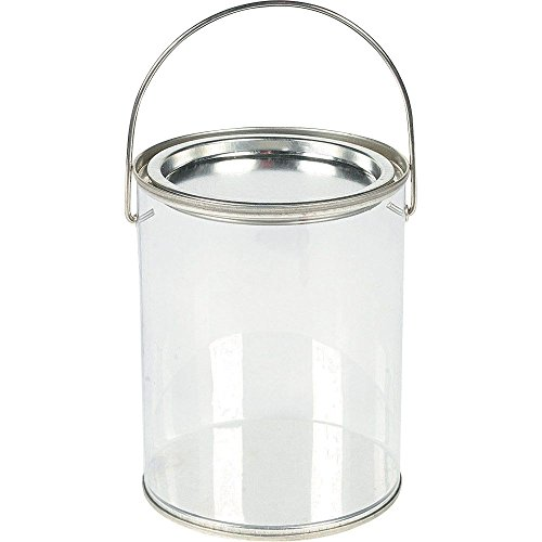 Fun Express Plastic Clear Paint Can Container Craft Decorating Artist Buckets - Great for Party or Baby Shower Decorations -
