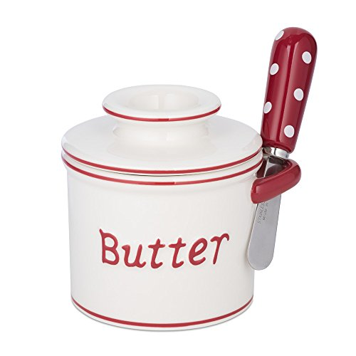 The Original Butter Bell Crock and Spreader by L. Tremain, Parisian Polka Dot Collection, (Butter Crock Ceramic)