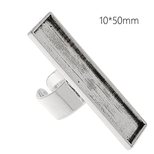 - 10pcs/lot- Ring Base with 10x50mm Rectangle Blank Bezel for Jewelry Makings (Antique Silver)