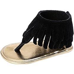 Girls Princess Sandals, Mosunx(TM)Toddler Girl Crib Shoes Newborn Flower Soft Sole Anti-slip Sneakers (12~18 Month, Black)