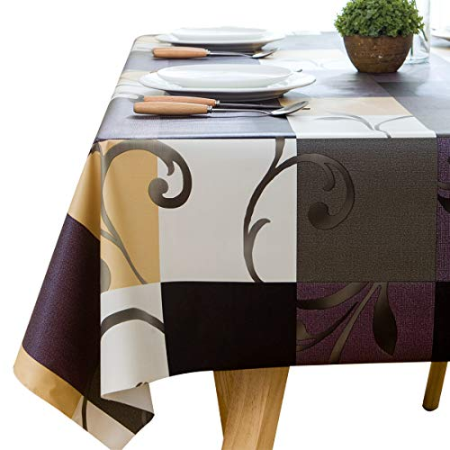 LOHASCASA 9ft Vinyl Tablecloth Large Rectangle Oilcloth Plastic Spill Proof Wipable Heavy Duty Waterproof Tablecloths Checkered 54 x 108 Inch ()