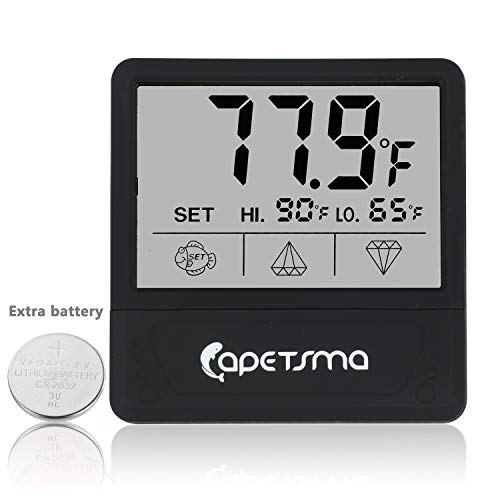 Aquarium Thermometer, Digital Touch Screen Fish Tank Thermometer With Large LCD Display, Stick-on Tank Temperature Sensor Ensures Accurate Reading for Aquarium Terrarium Amphibians and Reptiles