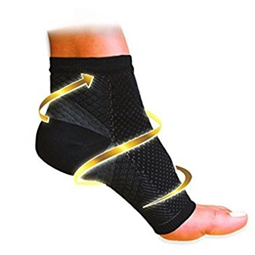 Lamolory Anti Fatigue Varicose Feet Sleeve,Foot Ankle Compression Socks (Black, M)