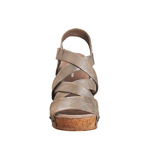 Antilop Kvinna 706 Metalliskt Läder Korsmönstrad Sandaler Tenn