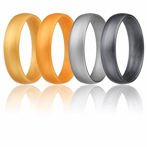 ROQ Silicone Wedding Ring For Women, Set of 4 Affordable Comfort Fit 6mm Love Metallic Silicone Rubber Wedding Bands - Light Gold, Copper Gold, Silver, Beveled Metallic Platinum - Size (Lifetime Platinum Rings)