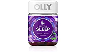 OLLY Restful Sleep Gummy Supplement with Melatonin & L-Theanine Chamomile, Blackberry Zen, 50 Gummies (25 Day Supply) Supports a Healthy Sleep Cycle* (Packaging May Vary)