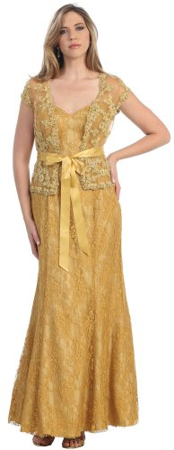 Mother of the Bride Formal Evening Dress #817 (Medium, Gold)