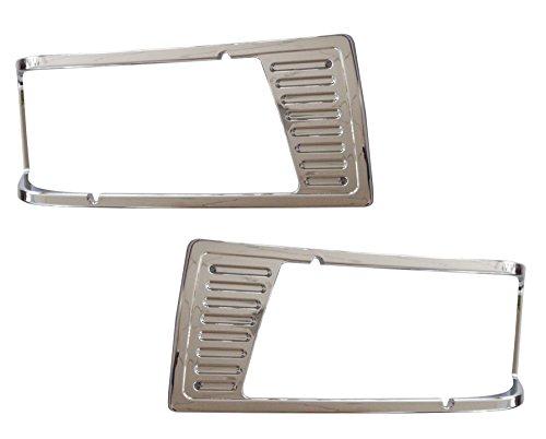 QSC Headlamp Chrome Bezel Pair Left & Right Side for Peterbilt 377