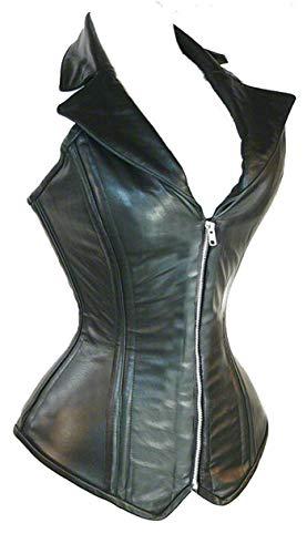 (Jusian Women's Push Up PU Leather Boned Corset Bustier X-Large Black)
