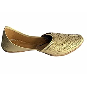 Step n Style Men's Flat Golden Bridal Khussa Shoes Traditional Indian Leather Loafer Punjabi Jutti