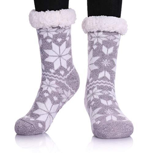 Dosoni Women's Winter Snowflake Fleece Lining Knit Christmas Knee Highs Stockings Slipper Socks (Snowflake Light Purple) ()