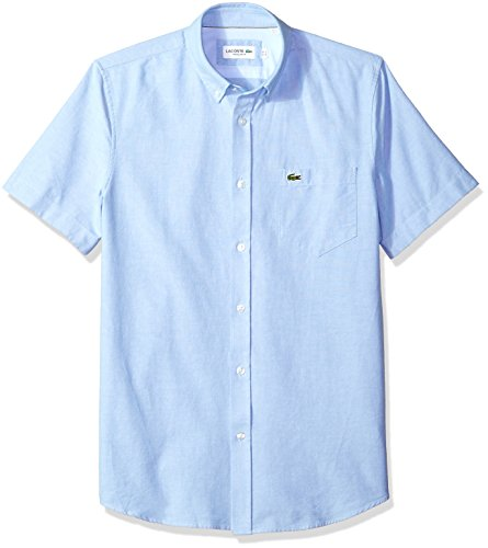 Lacoste Men's Short Sleeve Oxford Button Down Collar Regular Fit Woven Shirt, Hemisphere Blue, X-Large ()