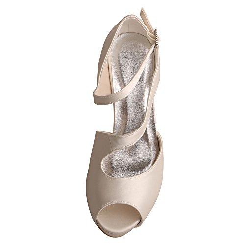 Cuñas Marfil noche peep Talón de Satén vestir Wedopus Zapatos Zapatillas Mujeres de toe de de cristal boda MW518 Clips de qpSf4S