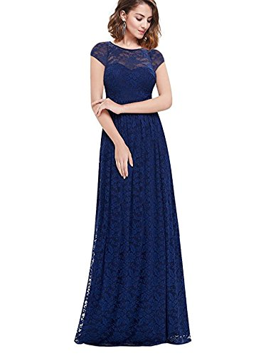 MABELER Women's Retro Lace Wedding Maxi Bridesmaid Long Dress Blue S