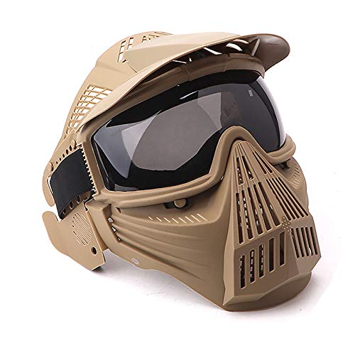 NINAT Tactical Paintball Mask, Airsoft Mask Full Face with Lens Goggles Eye Protection for CS Survival Games BBS Shooting and Other Airsoft Safety Mask Paintball Goggles-Tan Greylens