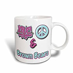 Blonde Designs Animals Love Peace And In Pastels - Love Peace And Brown Bears In Blue And Purple - 15oz Mug (mug_122613_2)