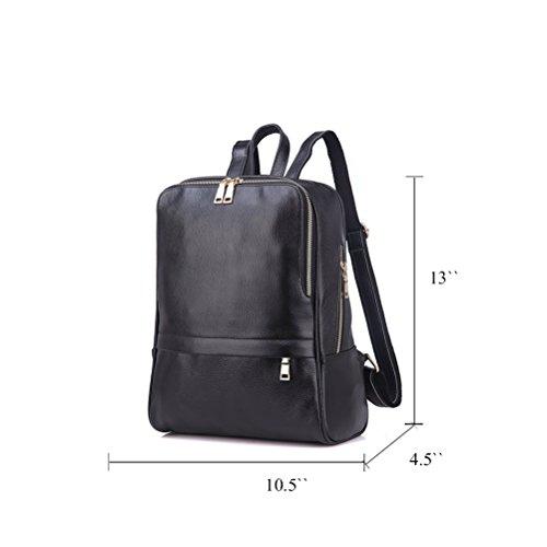 Cartable Fanshu simple sac dos à Noir Fashion veritable femme cuir Rouge r0Urw8