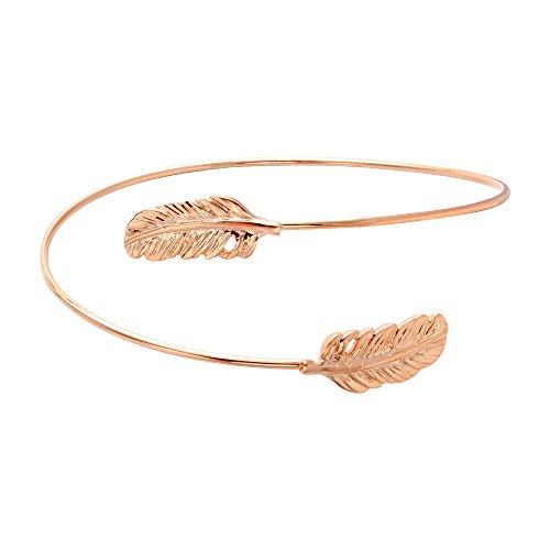 SENFAI New Fashion Gold and Silver Rose gold Double Leaf Bracelet Bangles for Women (rose