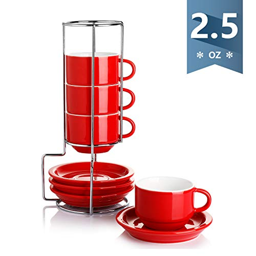 Sweese 404.104 Porcelain Stackable Espresso Cups with Saucers and Metal Stand - 2.5 Ounce - Set of 4, Red