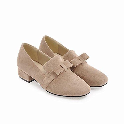 Carolbar Mujeres Bows Square Toe Sweet Retro Low Heels Mocasines Zapatos Beige-albaricoque