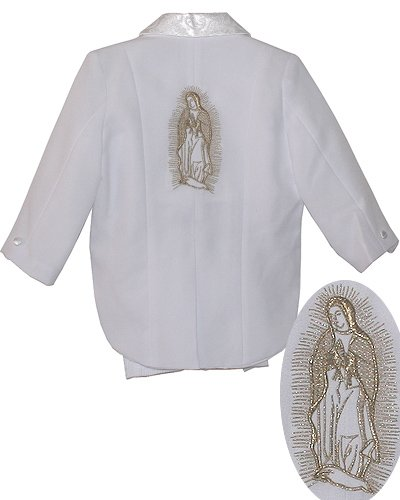 White Baby Boy Suit Set, Gold Maria Guadalupe Embroidered, Amoeba pattern