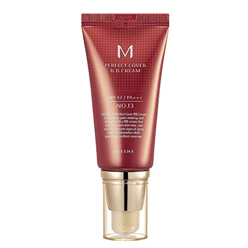 Missha M Perfect Cover BB Cream SPF 42 PA+++ (#13 Bright Beige), Amazon Code Verified for Authenticity, 50ml, Concealing…