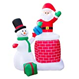 Holidayana Christmas Inflatable Giant 10 Ft. Santa Claus & Snowman Duo Christmas Inflatable Featuring Lighted Interior / Airblown Inflatable Christmas Decoration With Built In Fan And Anchor Ropes