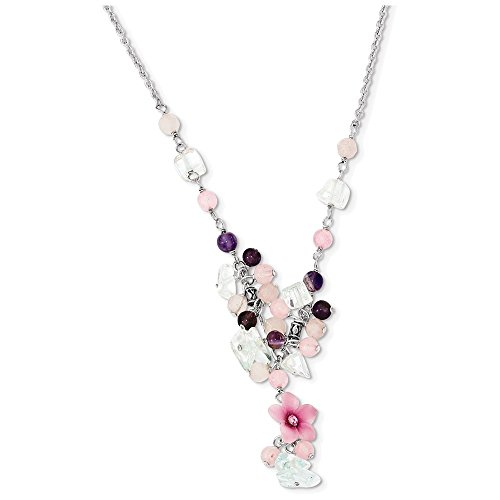 Sterling Silver Pink CZ/Blue Topaz/Pink Agate/Amethyst Necklace