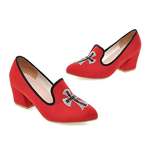 Uppers Thin Low 36 red Middle Heel Fluff Shoes Pointed Casual xwaAYRvq