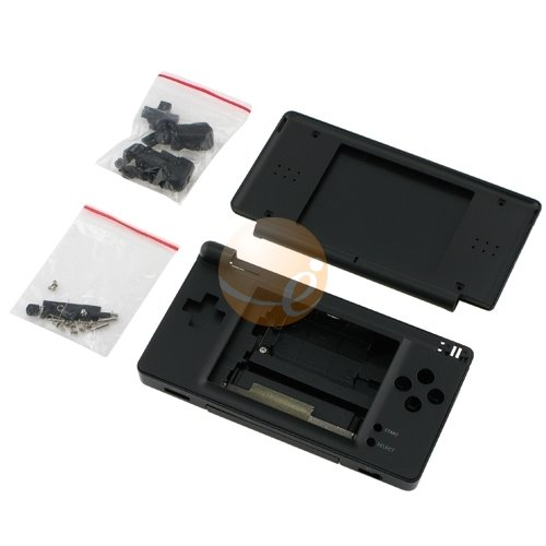 Onyx Black - High Quality Full Repair Housing Replacement Kit for Nintendo DS Lite with Hinge Set -